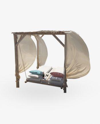 Prive ξύλινο κρεβάτι παραλίας κούνια